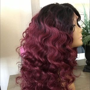 BURGUNDY RED OMBRÉ CURLY THICK SOFT WIG NEW